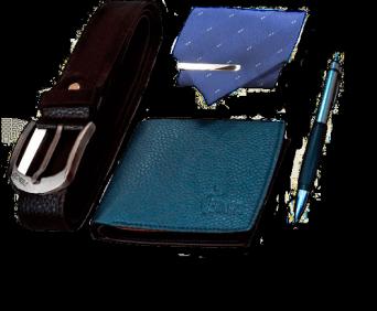 Мужской набор - ручка, портмоне, ремень и галстук