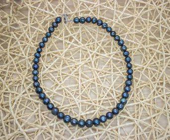 Ожерелья из натурального жемчуга - синее