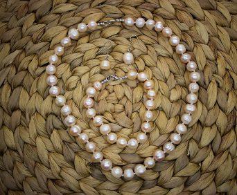 Ожерелья из натурального жемчуга - розовое