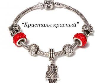 Браслет Pandora с шармами красный