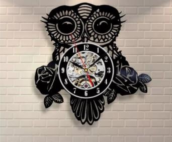 Часы из виниловых пластинок - совы