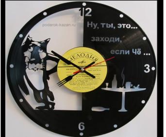 Часы из виниловых пластинок - мультфильмы