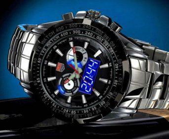 Армейские часы tvg показывают время в аналоговом и цифровом формате