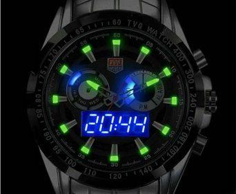 Армейские часы tvg снабжены люминесцентными стрелками и светодиодной подстветкой