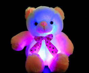 Светящийся плюшевый мишка - светится 7 цветами